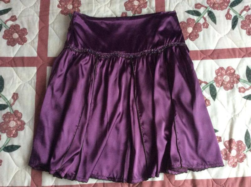 Brand New Bysi Purple Satin Skirt with Sequins