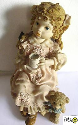 Girl with Teddy Bear - Ornament for Sale