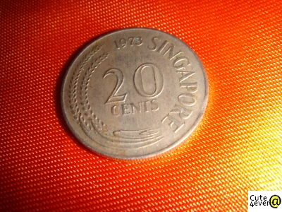 Singapore 1973, 20 Cents, Clipped Planchet Error Coin