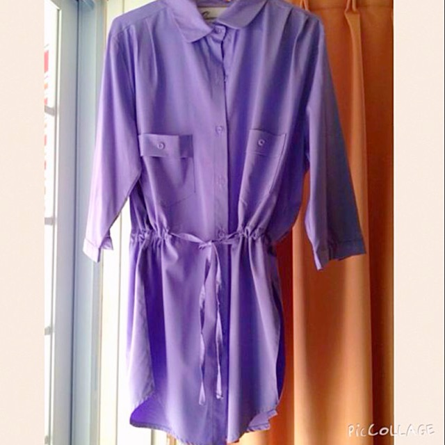 2nd Hand Queen Shop Purple Long Shirt with Drawstring Waist