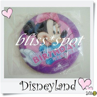 Brand New Authentic Hong Kong Disneyland Minnie Mouse Birthday Badge