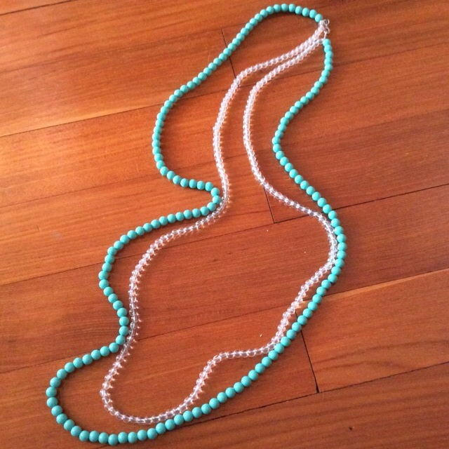 Double Length Green Turquoise And Transparent Beaded Necklace