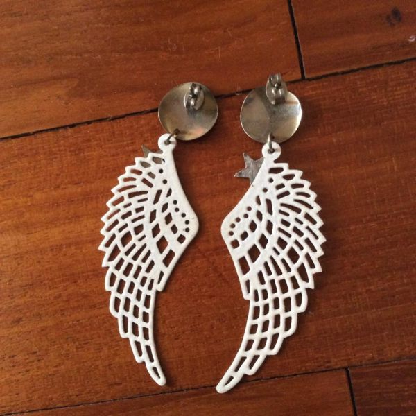 Brand New White Wing Shaped Earrings