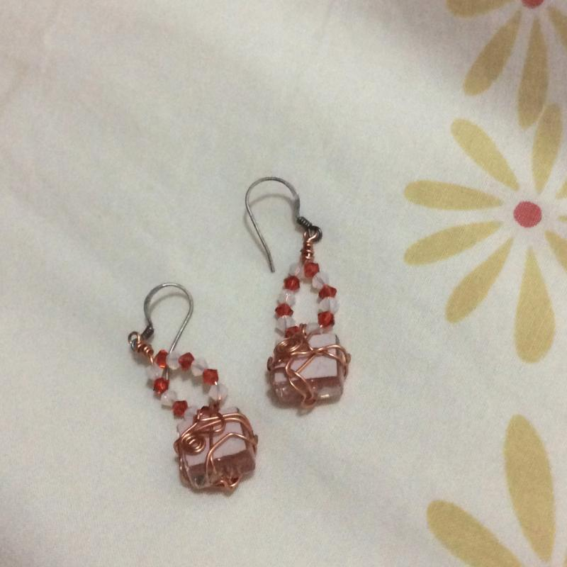Brand New Handcrafted Bead Orange Hook Earrings