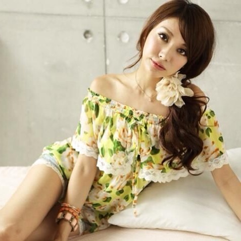 2nd Hand Chiffon Yoco Yellow Floral And Lace Off Shoulder Top
