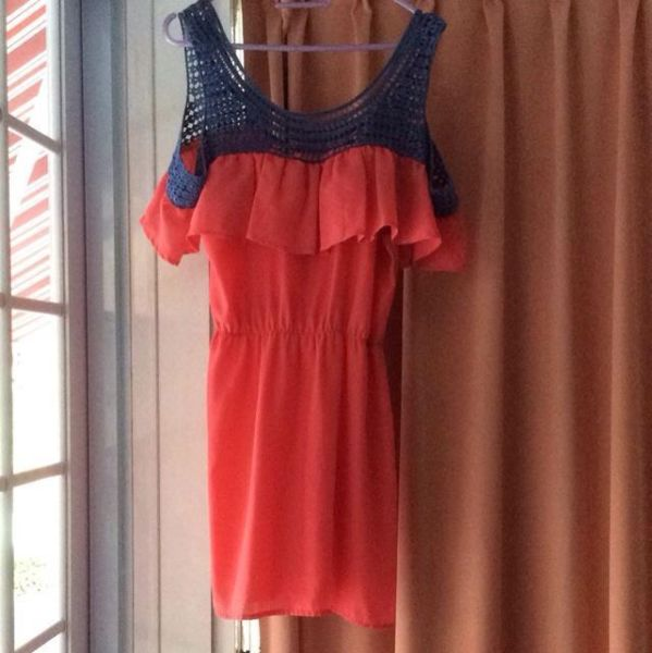 Off Shoulder Red And Blue Crotchet Long Top Or Dress