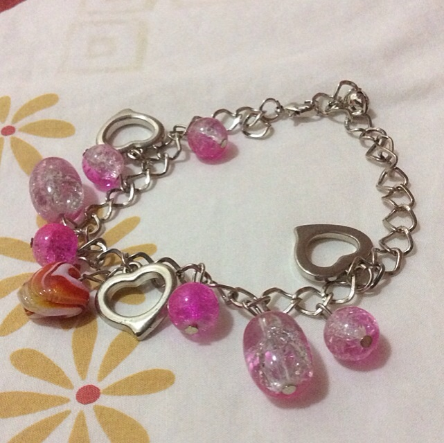 Brand New Glass Bead Pink Bracelet From Italy
