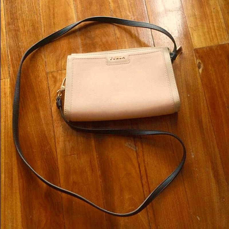New Furla Pink And Beige Leather Crossbody Bag With Brown Straps