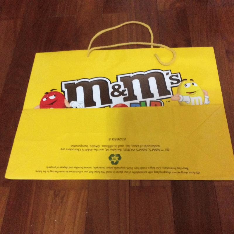 Authentic M&M Store USA New York Yellow Paper Bag