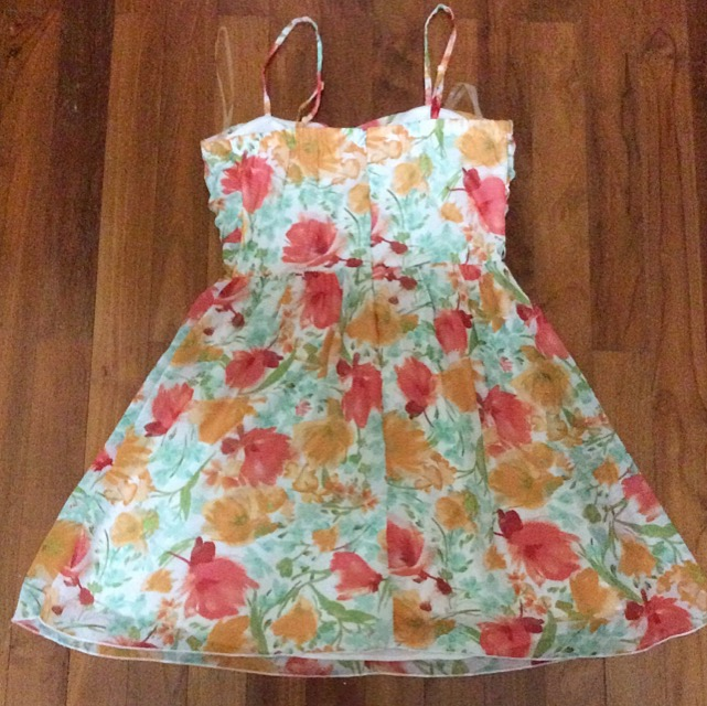 New Chiffon Green And Red Spring Floral Bustier Dress