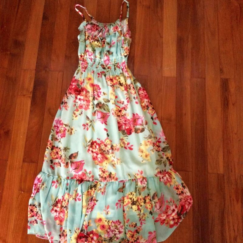 New Turquoise Free Size Chiffon Sleeveless Floral Maxi Dress