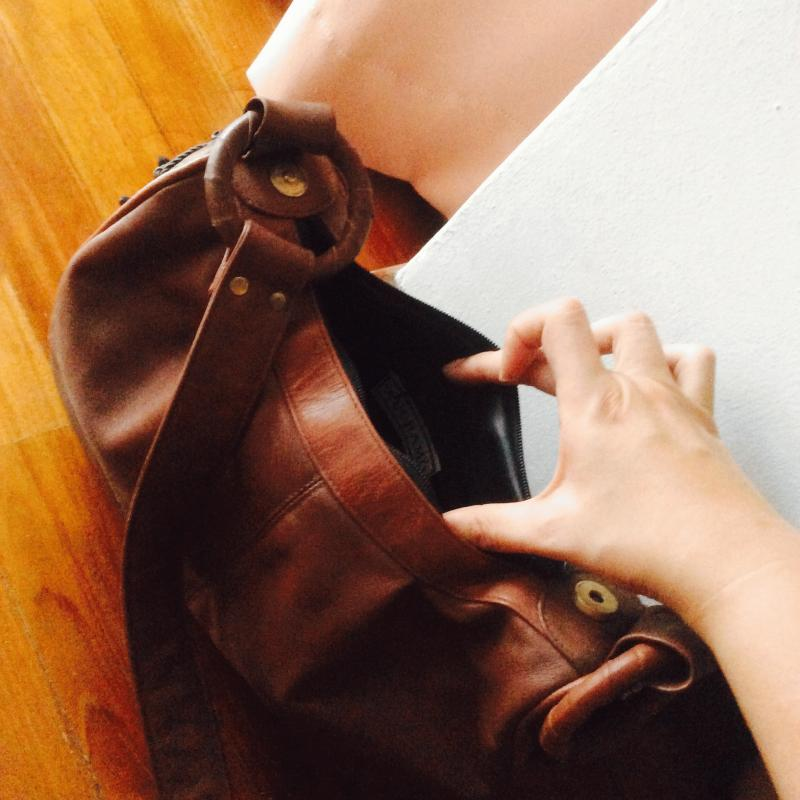 Vintage Brown Auchamo Brand Italian Leather Bag With Side Bead Decoration