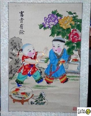 Antique Art Watercolor Drawing Vintage Chinese Painting Drawing 富贵有余 Collectible