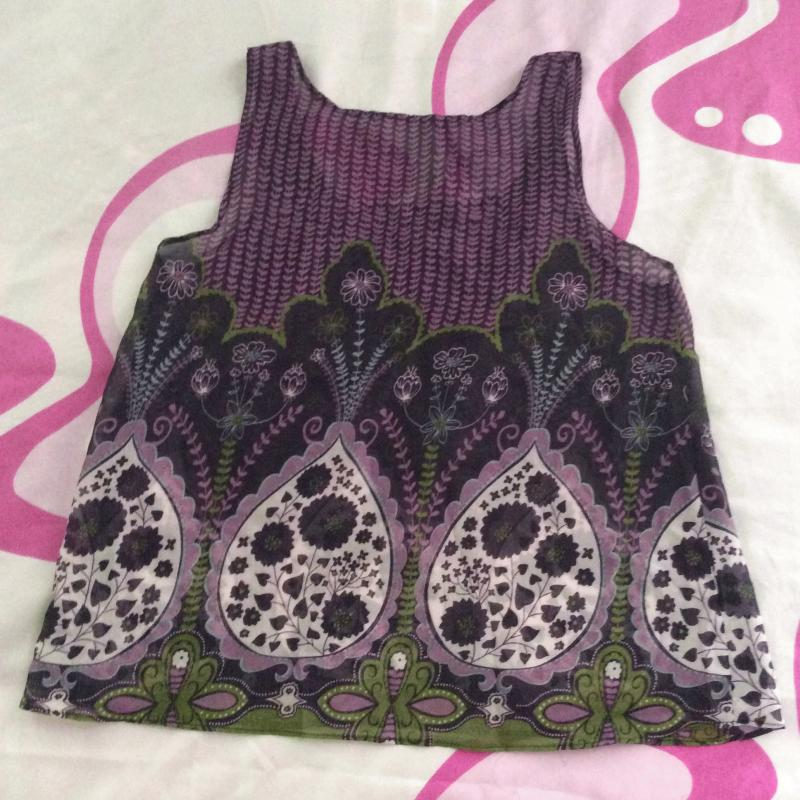 Purple Paisley Floral Purple Chiffon Tank Top