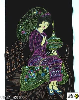 Scroll / Embroidery / Handicraft - Seated Pretty Thai Lady Holding A Umbrella
