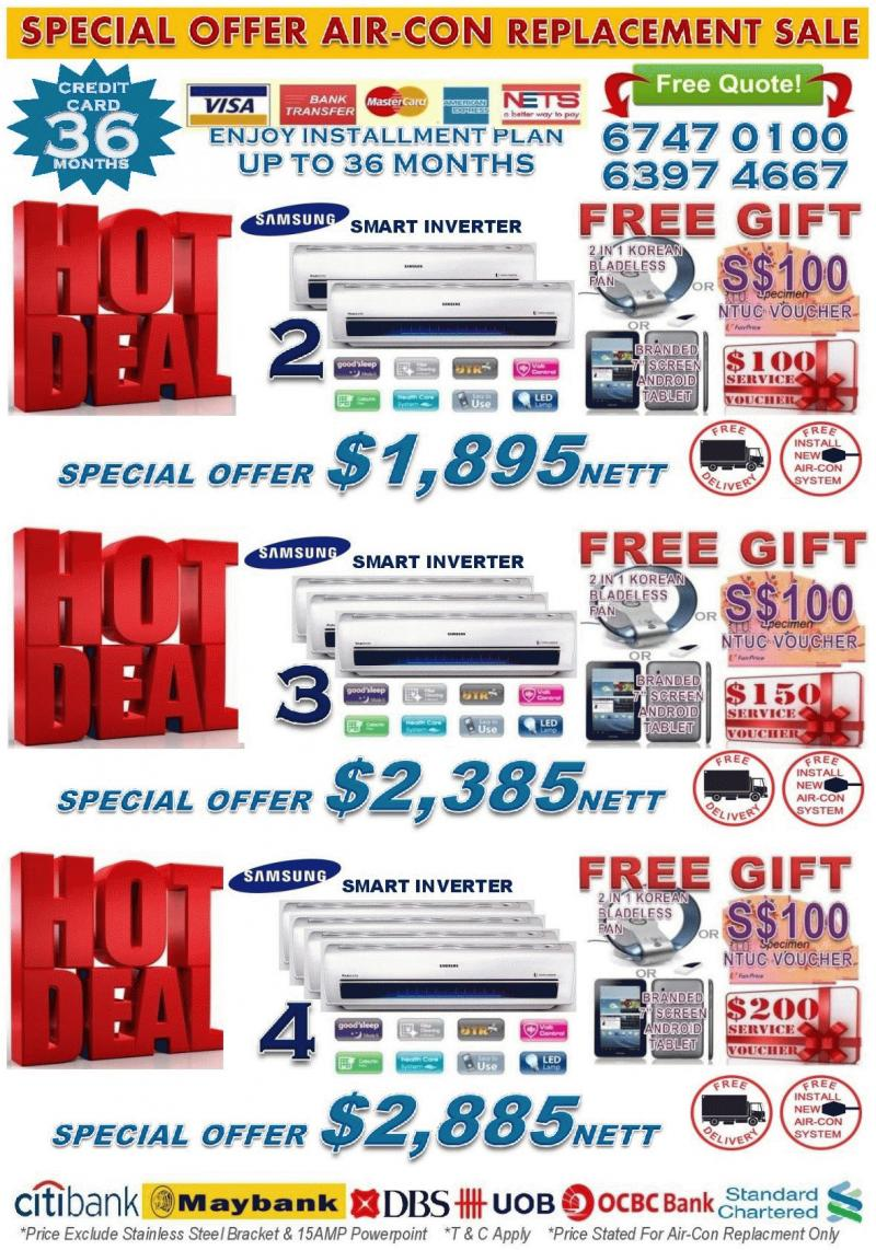 *SINGAPORE AIR-CON CRAZY SALE 2017* BRANDED AIR-CON PROMOTION + FREE NTUC VOUCHER **