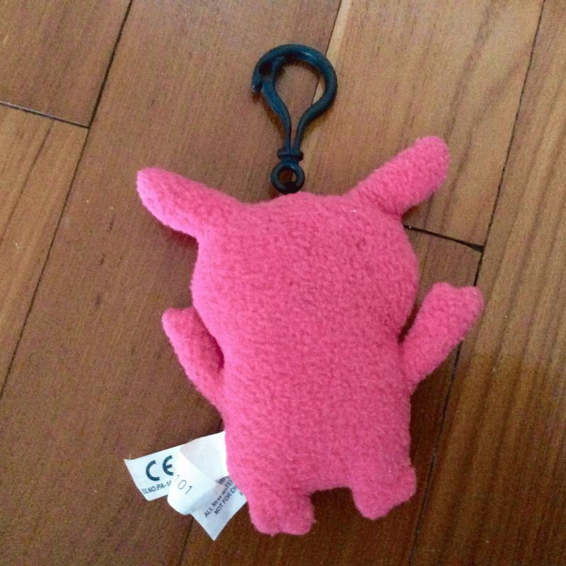 New Palm Size Pink Plushie Fur Monster Keychain