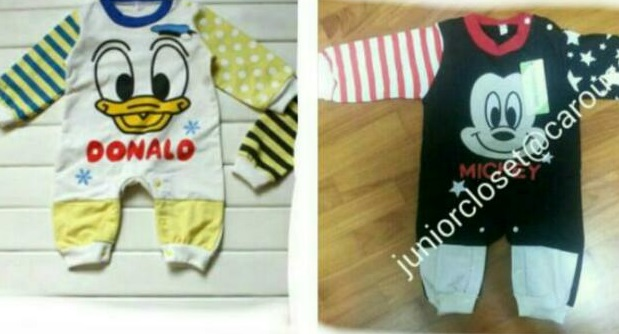 NEW FREE MAIL Mickey mouse romper (6-12m) Minnie mouse romper (18-24m)