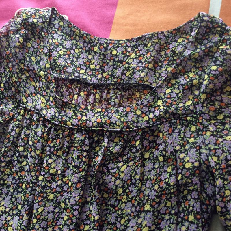 Preloved Yellow Floral Chiffon Tunic Long Top