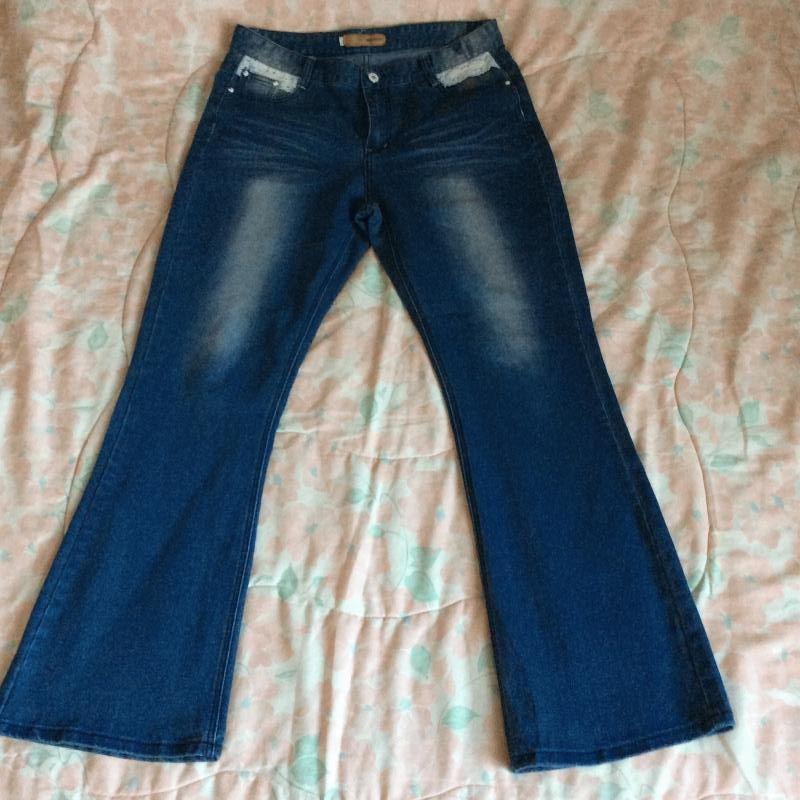 2nd Hand Plus Size Orangebear Blue Denim Whitewash Jeans with Lace Detail