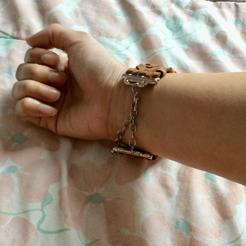 Preloved Brown Faux Leather Thick Bracelet Cuff with Golden Hardware from H&M